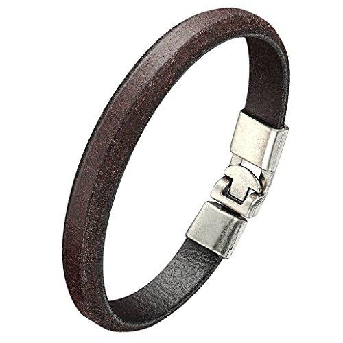 Daesar Edelstahl Armband Herren Braun Leder Amrkette 21x1.1CM