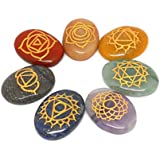 Sahara Agate Seven Chakra Symbol Engraved Healing Set For Reiki Healing And Crystal Healing