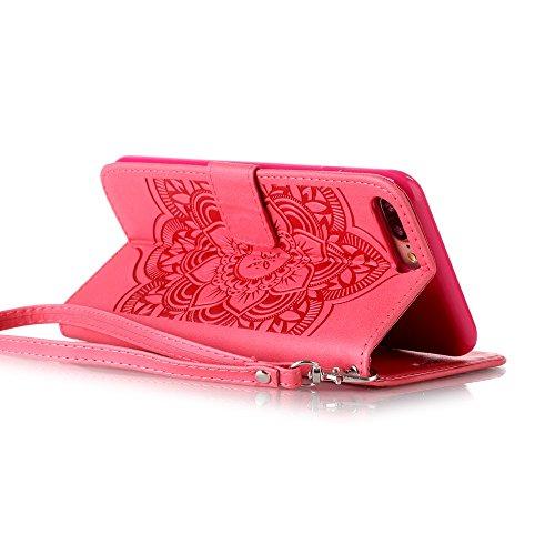 Voguecase® für Apple iPhone 7 hülle,(New York 01) Kunstleder Tasche PU Schutzhülle Tasche Leder Brieftasche Hülle Case Cover + Gratis Universal Eingabestift Diamant/Campanula Blume/Rot