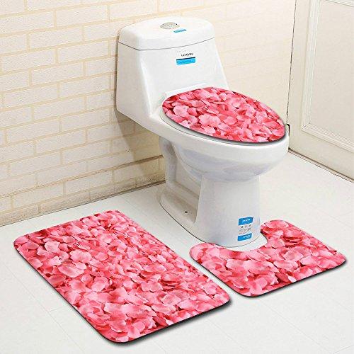 Tefamore 3pcs modèle de la Saint-Valentin Anti-dérapant Housse de siège de  Toilette Tapis de Salle de Bains Ensemble décor (I)