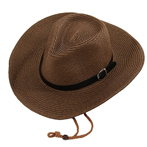 Butterme Women Ladies Summer Straw Hat Western Cowboy Cowgirl Structured Draw String Cap Beach Sun Protection Jazz Hat with Belt Buckle (Coffee) Test