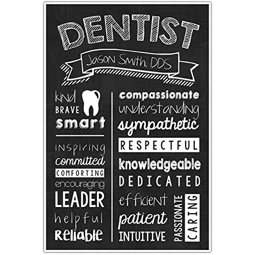 Scott397House Canvas Wall Art Prints Dentist Chalkboard Dentist Graduate Dentist Appreciation Personalized Ready to Hang Printing Gift for Home Decoration 12x16