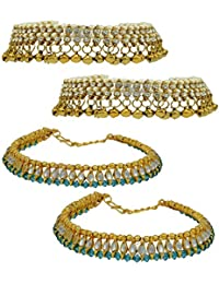 High Trendz Combo Of Two Bollywood Style Ethnic Gold Plated Anklets With Ghungroos, Cz Stones And Kundan Studded... - B06XJ3ZNGF