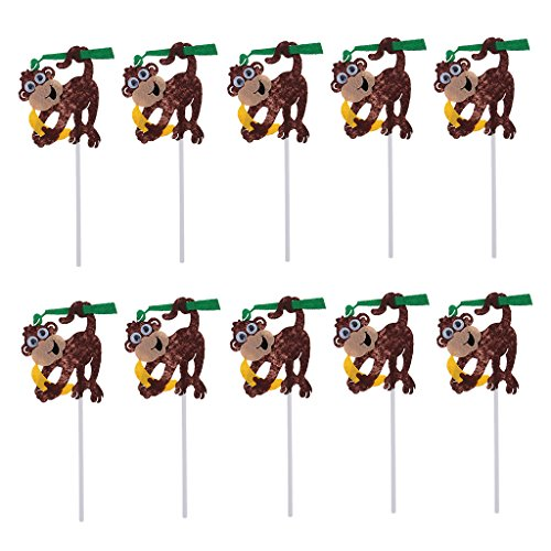 SunniMix 10Stü / Set Cake Topper, Zoo Tier Form, Tortenstecker, Tortenfigur Geburtstags Baby Taufe Party Dekor - AFFE, 13,5 x 7cm