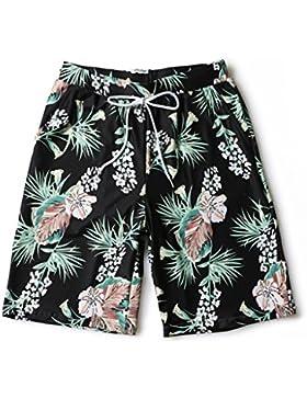 LINGZHIGAN Pantalones de playa Hombres sueltos de gran tamaño Shorts de flores de secado rápido Impresión personalizada...