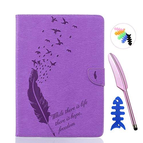 ANNN® iPad Air/iPad 5 Solide Drucken(Dayan Feather) PU Leder Flip Wallet Schutzhülle mit Vogel Magnetverschluss - Bookstyle Hülle mit Standfunktion und Kartenfach als stabiler Schutz--B07