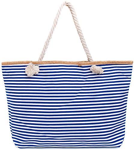 Faera Strandtasche schmales Streifenmuster XXL Shopper Beach Bag mit breiter Kordel Schultertasche, Taschen Farbe:Blau
