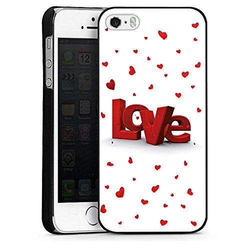 Apple iPhone 5s Housse Étui Protection Coque Amour Motif vue 3D Petit c½ur CasDur noir