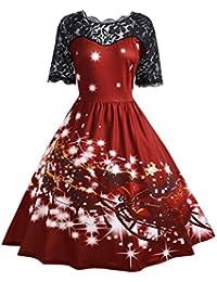 SHOBDW Mujeres de Navidad Vestido de Fiesta de Las señoras Vintage Navidad  Swing Vestido de Encaje 7f6018b5dbaf
