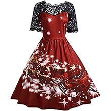 SHOBDW Mujeres de Navidad vestido de fiesta de las señoras Vintage Navidad Swing Vestido de encaje