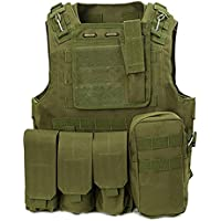 TOOGOO(R) Tactical Military Army Camo Vest Paintball Softair Weste fuer Outdoorsport Angeln-Green