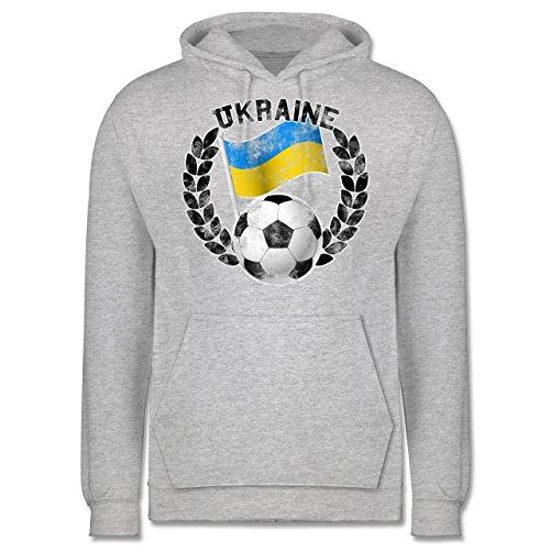 EM 2016 - Frankreich - Ukraine Flagge & Fußball Vintage - Männer Premium Kapuzenpullover / Hoodie Grau Meliert