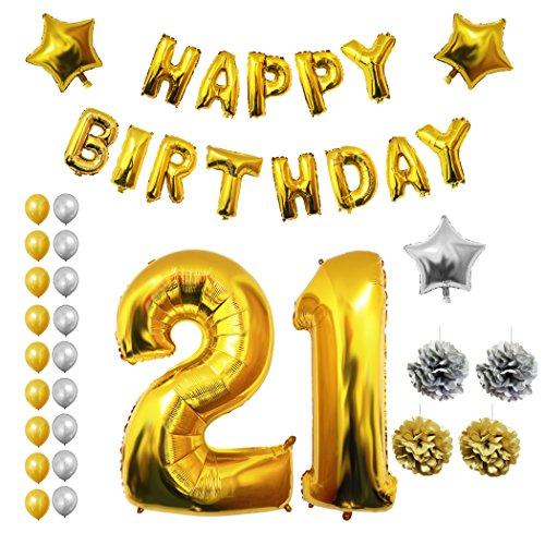 Luftballons u. Dekoration zum 21. Geburtstag von Belle Vous - 26-tlg. Set - Großer 21 Jahre Luftballon - 30,5cm Gold u. Silberne Dekorative Latex-Ballons - Für Männer u. Frauen (Cinco De Mayo-tisch Dekorationen)