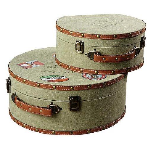 DekoWoerner Kofferset rund Vintage oliv