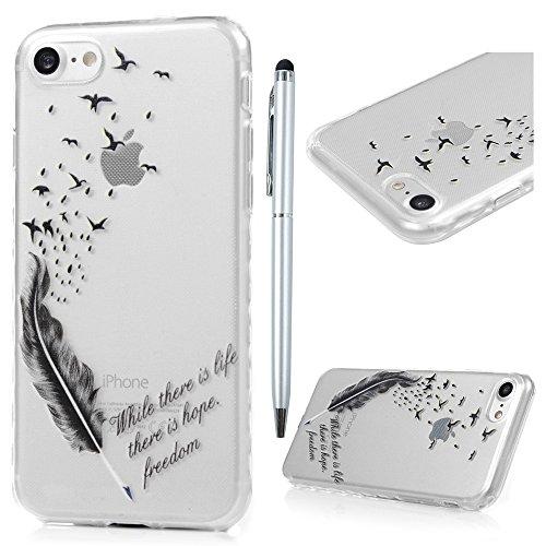 iPhone 7 Funda, Carcasa de TPU Silicona Suave Alta Resistencia a los Rasguños,Suciedades Case Cover Pintado para iPhone 7 4.7 Pulgadas - MAXFE.CO - Pájaro y Pluma
