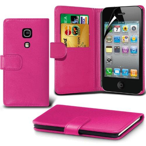 Portefeuille en cuir couverture de peau de cas de secousse Avec écran LCD Protecteur Pour Apple iPhone 4 By i-Tronixs Hot Pink