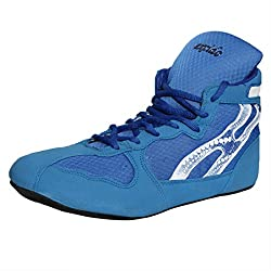 Excido Men Blue, White Suede Leather, Mesh Wrestling Sport Shoes (ks02, Size: 42 Euro)