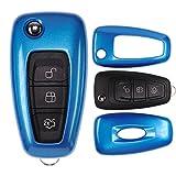mt-key Klapp Schlüssel Cover Hülle FORD Mondeo S-Max Focus Fiesta Transit/Farbe: Metallic Blau