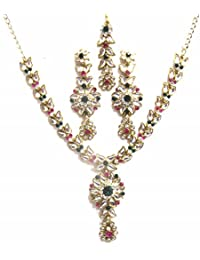 Jewelshingar Jewellery Zircon Stone Gold Plated Colour Multi-Colour Necklace Set For Women ( 40427-nz-rani-green )