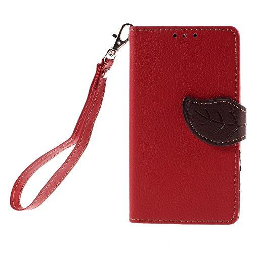 [A4E] Handyhülle passend für Sony Xperia Z5 Compact Kunstleder Tasche, Flip Cover, seitlicher Magnetverschluss, Standfuß, Kreditkartenfächer, Handschlaufe, mit floralem Blatt Muster (rot, braun)