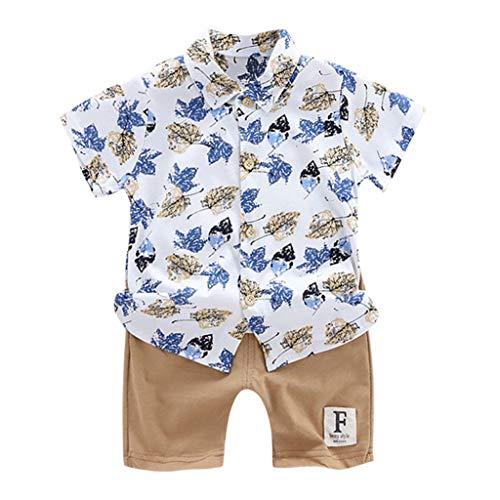Sonnena Bekleidungsset 0-3 Jahre Kleinkind Baby Jungen Gentleman Bogen Blumen Kurzarm T-Shirt Tops Shorts Hosen Outfits Kleidung Set -