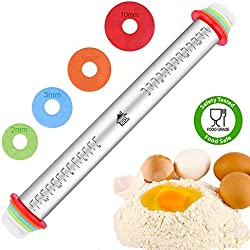 DSL Rouleau à pâtisserie réglable avec anneaux épais antiadhésif en acier inoxydable 43,2 cm