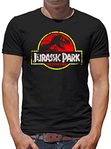 TLM Jurassic Park Distressed Logo T-Shirt Herren XXXXL Schwarz (Spiderman Black Kostüm Comic)