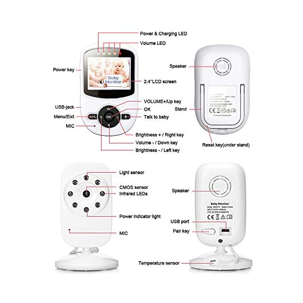 "Video Baby Monitor, Rongyuxuan 2.4 GHz Digital Wireless 2 Way Baby Monitor with Temperature Monitor, 900ft Transmission Range, Night Vision, ECO Mode High Capacity Battery  2.4"" COLOR HD LCD SCREEN - High quality display, providing a crystal clear image. 2.4GHz wireless digital signal provides high definition and stable streaming, secure interference-free connection. Auto Infrared Night Vision - Rest assured knowing you'll see your baby day and night. EXCELLENT TWO-WAY TALKBACK - Rongyuxuan Baby Camera Monitor adopts enhanced lossless two-way audio, you are able to talk or sing to your baby when needed. It is convenient to sooth your baby from another room. Up to 900 feet (OPEN SPACE) with out-of-range warning. Rich Features - Room Temperature Monitoring with High/Low Temperature Alerts, Eco Mode Voice Activation, Sound Activated LED Indicators, Alarm/Timer Setting, 2x Digital Zoom with Digital Image Pan/Tilt option, Multi-Camera Expandability (up to four cameras), Lullabies, Manual Pan (360 degrees) & Tilt (70 degrees), Auto Scan View, Tabletop or Wall Mounting Options. 8"