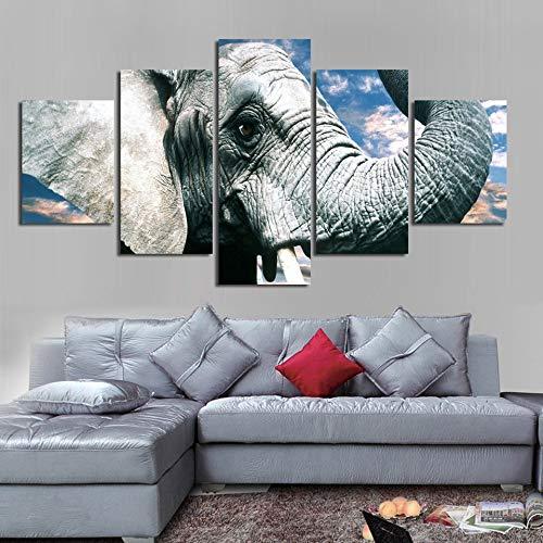YCOLLC Moderno Pintura Modular 5 Panel Elefantes Cielo Azul Paisaje HD Impreso...