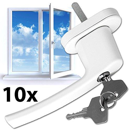 FDS 10x Fenstergriffe ,Türgriff abschließbar Sicherheitsfenstergriff weiß Alu Fenstergriff