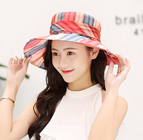 HIAO Freizeit Hut Sommer Sonnenschutz Kappe im Freien größenverstellbar Damen Visier Urlaub Blue Beach Hut Winddicht Anti-UV