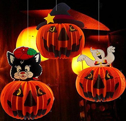 Meiwo lanterne di zucca, 3 pack lanterne di carta appesa a zucca per halloween / celebrazioni di casa / bar / compagnie di halloween
