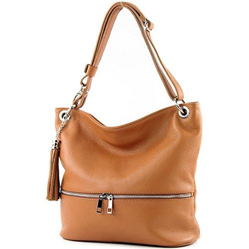 modamoda de - ital bolsa de hombro/hombro hecha de cuero T143, Color:camello