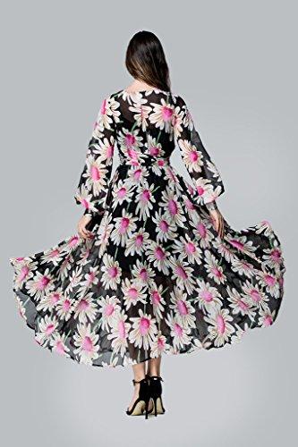 Bigood Robe Longue Femme Eté Mousseline de Soie Manches Longues Plage Cocktail Soirée Fleurs Noir