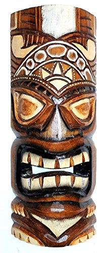 Wohnkult Tiki Wandmaske 50 cm Hawaii Maske aus Holz Wandbrett Wandschild Südsee