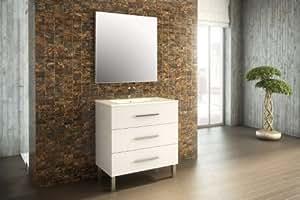 Mennza - Ensemble de salle de bain MADRID meuble blanc brillant 80 cm