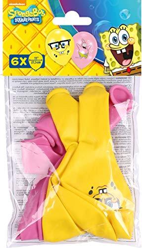 amscan 999223 - Globos de látex (6 Unidades), diseño de Bob Esponja, Color Rosa y Amarillo