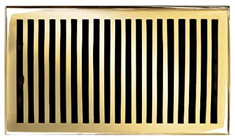 Brass Elegans 116GR-PLB Solid Cast Brass Contemporary 6-Inch by 10-Inch Floor Register, Polished Brass Finish