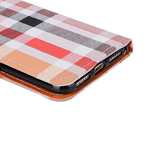 Voguecase Pour Apple iPhone 7 4,7 Coque, Étui en cuir synthétique chic avec fonction support pratique pour iPhone 7 4,7 (Grille irrégulière-Noir)de Gratuit stylet l'écran aléatoire universelle Grille irrégulière-Orange