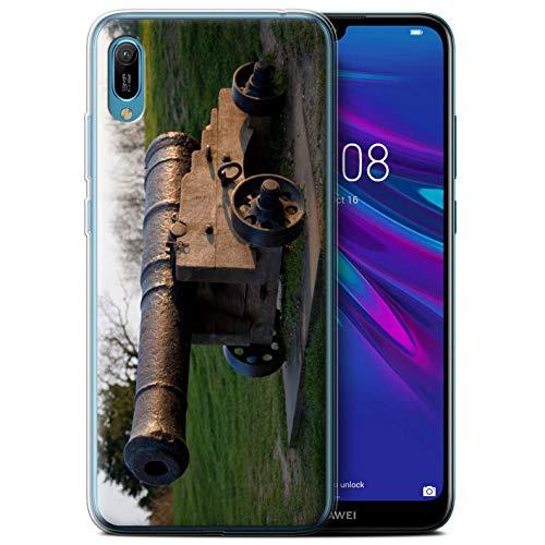 eSwish Gel TPU Hülle/Case für Huawei Y6/Prime/Pro (2019) / Alte Kanone Muster/Britischen Küste Kollektion (Cannon Kamera Und Drucker)
