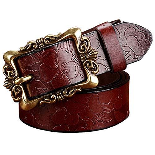 PmseK Gürtel Damen Herren Fashion Wide Genuine Leather Belts For Women Vintage Floral Pin Buckle Woman Belt High Quality Second Layer Cowskin Jeans Strap Coffee Big Flower 100cm -