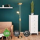 "Lampenwelt LED Stehlampe""Josefin"" dimmbar mit Leselampe in Messing aus Metall u.a. für Wohnzimmer & Esszimmer (A+, inkl. Leuchtmittel) | LED-Deckenfluter, Stehleuchte, Deckenfluter, Wohnzimmerlampe"