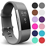 Yousave Accessories FitBit Charge 2 Strap Band - Replacement Silicone Sport Wristband for the FitBit Charge 2 – One to Ten Packs and 12 Colours Available (Large - Single Pack, Grey)