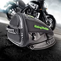Motorcycle Backseat Saddle Bag, Aappy Multi-functional Waterproof PU Leather Storage Tank Bag for Motorbike Rear Seat Super Light Tail Accessories Bags, Black (Style 1)
