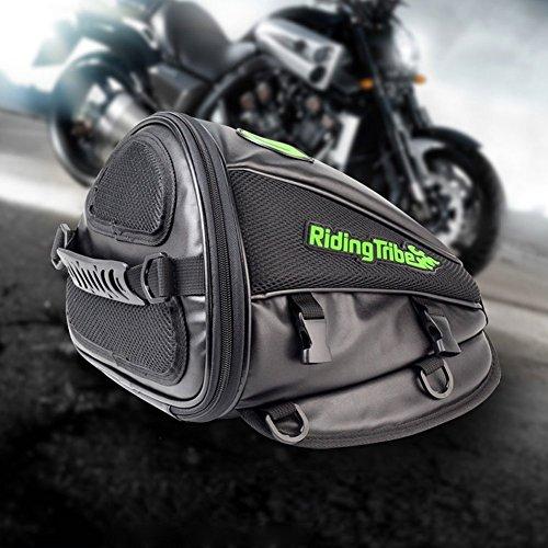 Sillín asiento trasero de la motocicleta, Aappy multifuncional impermeable PU bolso del tanque de almacenamiento de cuero para el asiento trasero Motobike Spuer Tail luz accesorios bolsas, negro
