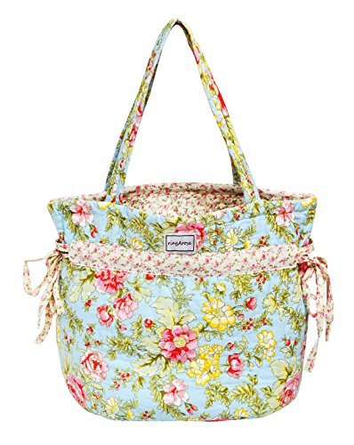 Ringarose gesteppt Floral 100% Baumwolle Bow Ties Handtasche Schultertasche–Summer Bloom (Bow Handtasche Rosa)