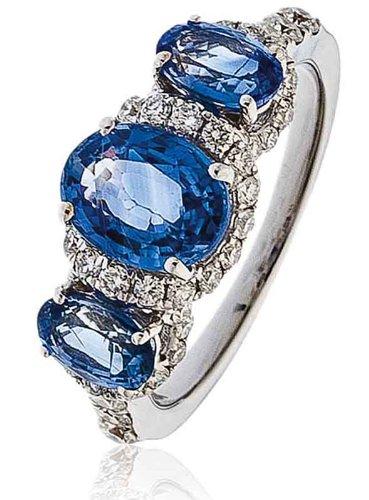 3, 50CT/certificado G VS2 forma Oval con centro de esmeralda piedra forma Oval de tres anillo de diamante con Halo de diamantes y en los hombros 18 K oro blanco