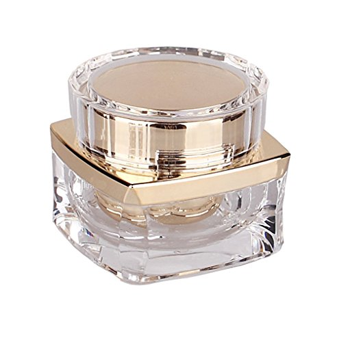1 Stück 30 g Acryl Kosmetik Flaschen mit Schraube lid-travel nachfüllbar Jar Pot Make-up Face Cream Eye Cream Halter Container Probe Verpackung die Lagerung Fall (transparent + Golden) 1 Unze Blauen Glasflaschen