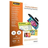 Fellowes 5602301 Creative Collection Set mit verschiedenen Laminierfolien, 80 Mikron, A4, A5, 10 x 15 cm, 50 Stück