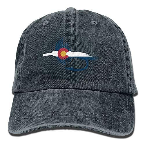 Colorado State Flag Fish Lure Tackle Flies Denim Adjustable Men Baseball Hat